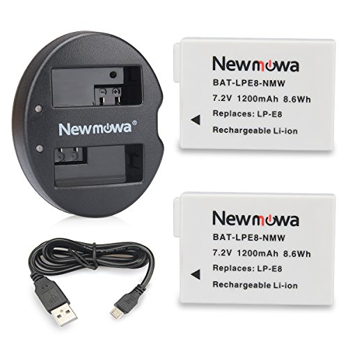Newmowa LP-E8 Replacement Battery (2 Pack) and Dual USB Charger for Canon LP-E8 and Canon EOS Rebel T2i, EOS Rebel T3i, EOS Rebel T4i, EOS Rebel T5i