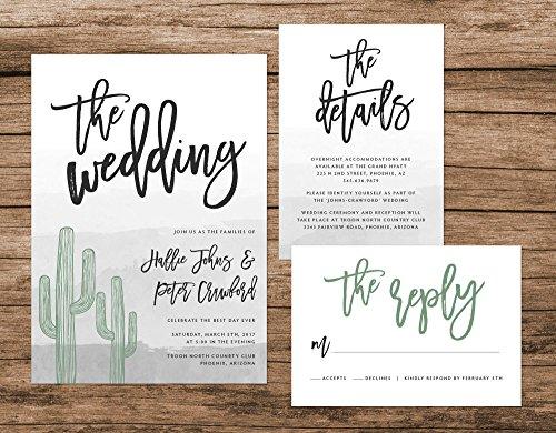 Cactus Wedding Invitation, Desert Watercolor Wedding Invitation, Arizona Wedding Suite by Alexa Nelson Prints