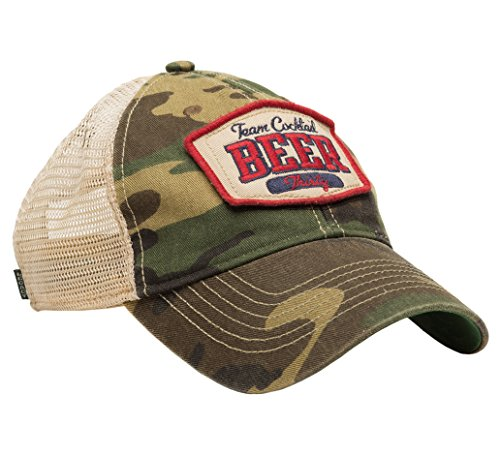 Team Cocktail Beer Thirty Mesh Trucker Hat - Camo Hat (Red w/Navy)