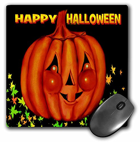 3dRose LLC 8 x 8 x 0.25 Inches Happy Halloween Orange Pumpkin Greeting, Cheeky Jackolatern with Black Background and Fall Leaves Mouse Pad (mp_153692_1) ()