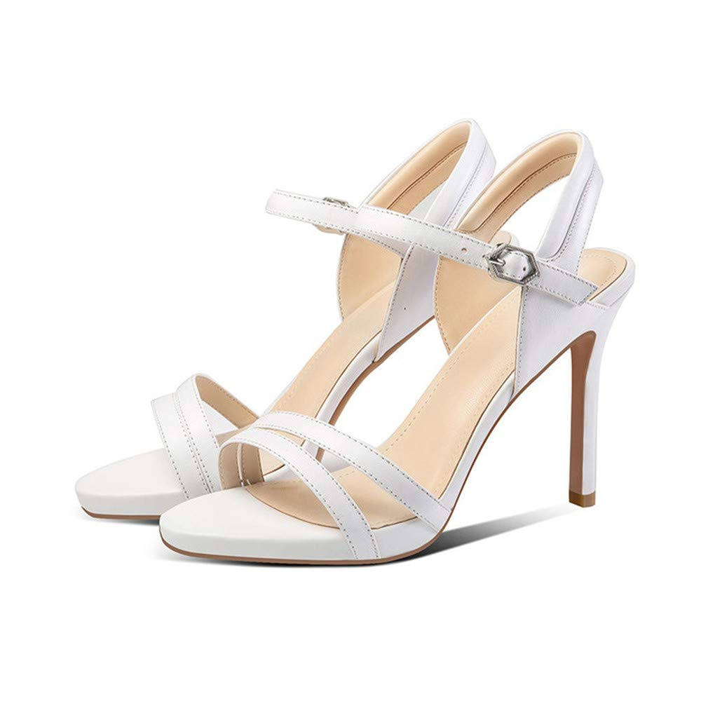 White GAO-GEN1 Women shoes Summer Leather Stiletto Heels Office Lady shoes Buckle High Heel Sandals 39