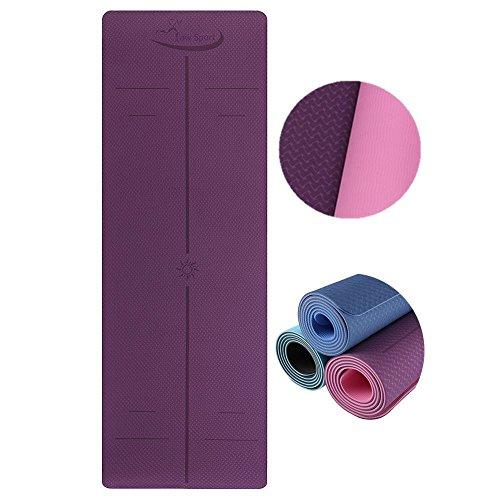 Hot Yoga Mat Set by Low Sport – 100% TPE Yoga Mat, Strap & Carrying Bag + Free Bonus Yoga Hand Towel. Non Slip, Eco-Friendly,Super Elastic,Yoga Mats For Women & Men,Alignment Lines – (Pink) 51gl8ylZeZL