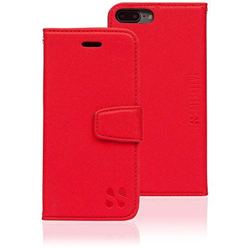 Anti Radiation RFID iPhone Case: iPhone 6 Plus, iPhone 7 Plus and iPhone 8 Plus ELF & RF Blocking Identity Theft Protection Wallet (Red)