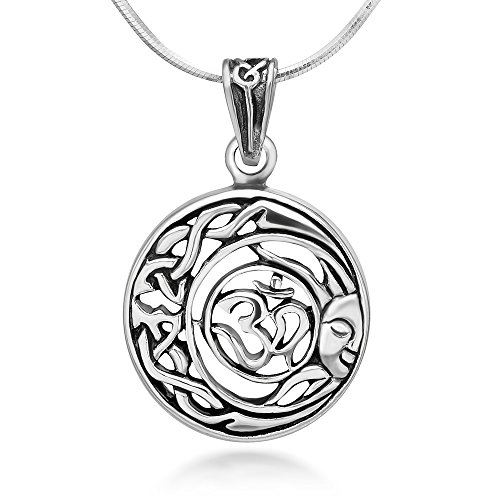 Sterling Silver Aum Om Ohm Hindu Sanskrit Celtic Moon Sun Symbol Round Pendant Necklace (Celtic Sun Moon)