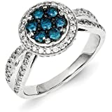 Sterling Silver Rhodium Plated Blue and White Diamond Circle And Flower Ring - Ring Size Options Range: L to P