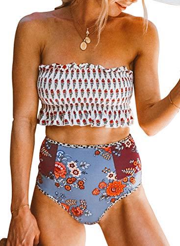 - Eytino Women Off Shoulder Printed Smocked Bikini Top with Cut Out Bottoms Beach Swimwear,X-Large White
