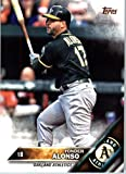 2016 Topps Update #US36 Yonder Alonso Oakland Athletics Baseball Card in Protective Screwdown Display Case