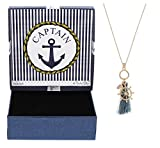 Captain Gift Nautical Preppy Fashion Jewelry Rose Gold-Tone Tassel Ship Wheel Long Necklace New Boater Gift Boat Jewelry
