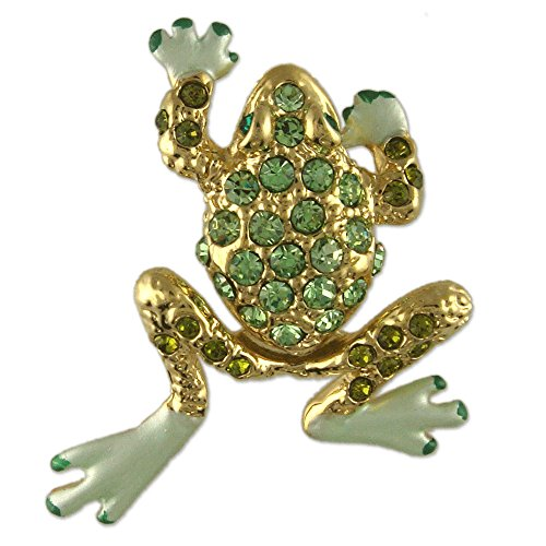 MOVEABLE CRYSTAL RHINESTONE FROG BROOCH MADE WITH SWAROVSKI ELEMENTS GOLD PLATED (Brooch Swarovski Frog Crystal)