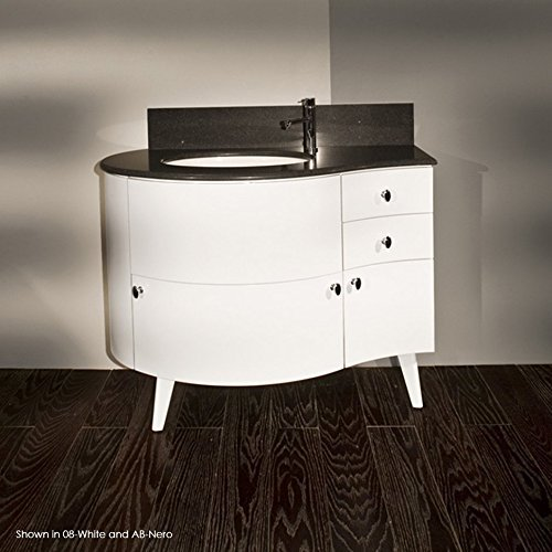 Free-standing wood base with three drawers and one door, washbasin on the right, 42W, 21 1/2D, 31 1/2H by Lacava