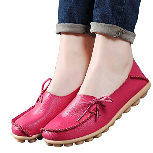 up Large Shoes VAO Flats Flats Coffee Girls Breathable Leather Beststore Size Mother Casual Shoes Fashion Women Shoes SDC179 Lace Women Comfortable Pf55qn