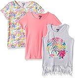 Limited Too Big Girls' 3 Pack T-Shirt, Aloha Beach Fringe Hem Floral Solid Multi Print, 14/16