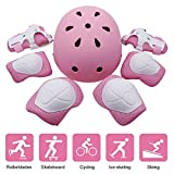 Kid's Protective Gear Set, Kids Sporting Protective Gear Helmet Set, Elbow Wrist Knee Pads and Helmet for Child Roller/Skating/BMX/Bike/Skateboard, 7 pcs / Set, Pink