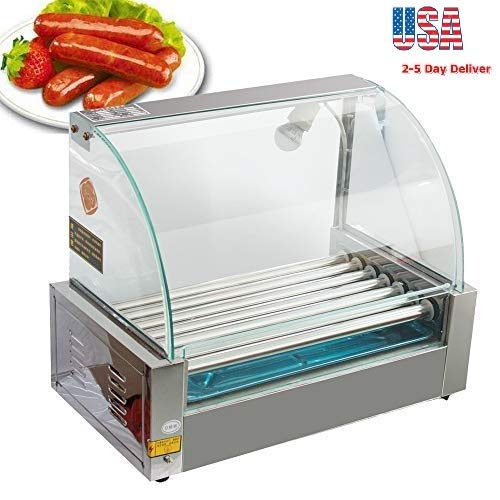 Zorvo Hot Dog Roller Machine-Electric 18 Hotdog 7 Roller Grill Cooker Machine-Stainless Steel Non Stick Sausage Warmer Hotdogs Grilling Cooker Appliances-with Cover and Easy to clean drawer-Commercial/Household 110V 1050W