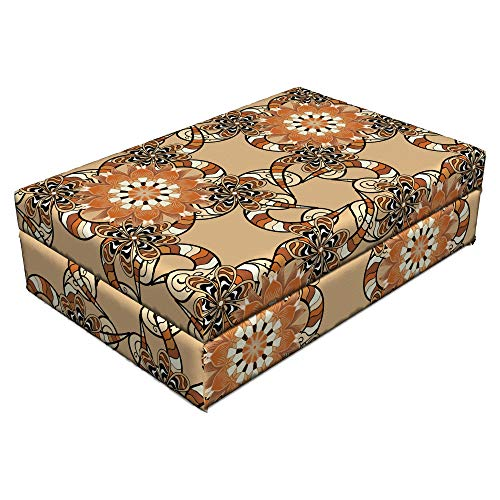 Ambesonne Tan and Brown Pet Bed, Henna Art Style Mandala Flowers with Wavy and Striped Petals Mosaic Tile, Animal Mat Foam and Stylish Printed Cover, 24