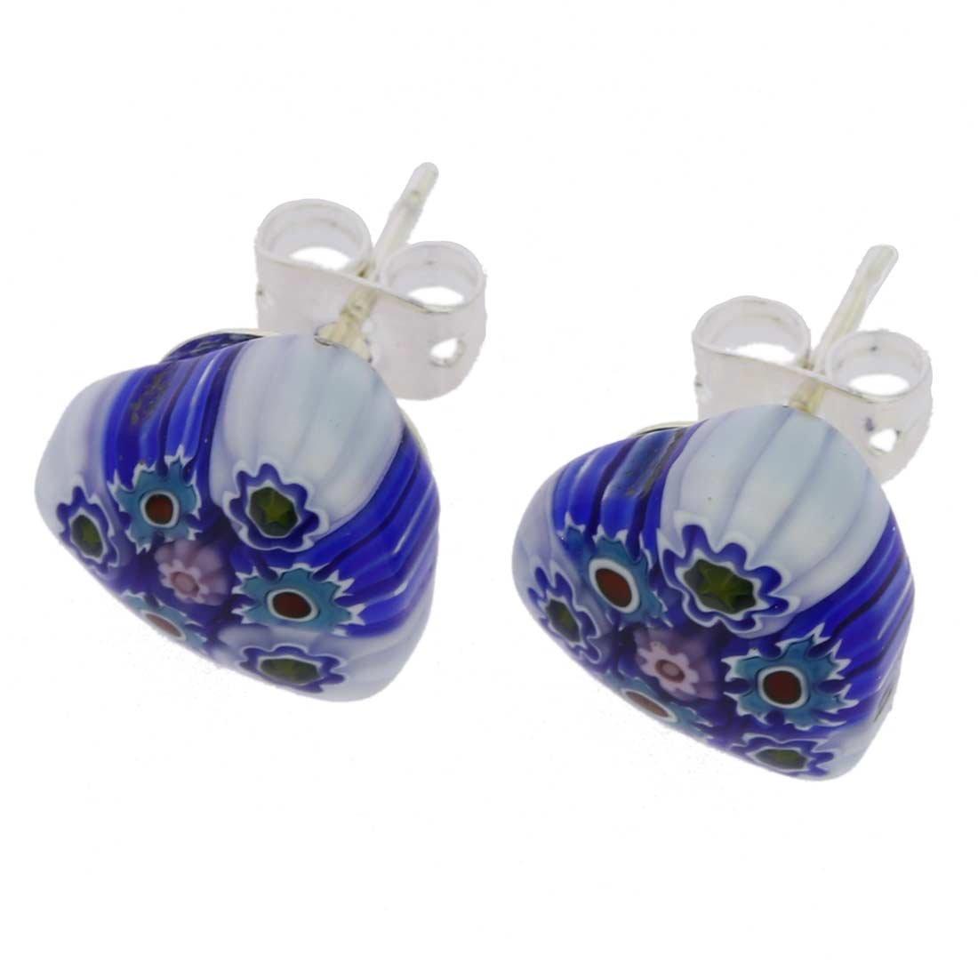 GlassOfVenice Murano Glass Millefiori Heart Stud Earrings