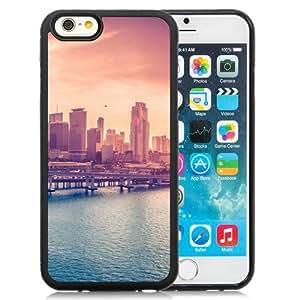 NEW Unique Custom Designed iPhone 6 4.7 Inch TPU Phone Case With City Skyline Bridge Sunset iOS8_Black Phone Case