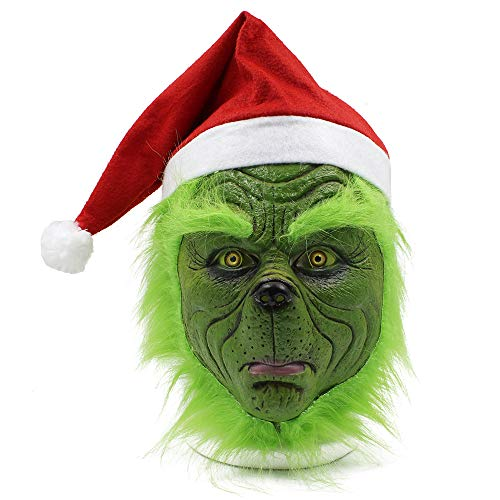 Grinch Christmas Latex Party Mask Costume Props Grinch Head Mask with Christmas Hat for Adult Green