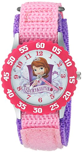 Disney Girl's 'Princess Sofia' Quartz Stainless Steel and Nylon Casual Watch, Color:Pink (Model: WDS000270)
