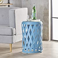 Perciad Indoor 14 Inch Diameter Lattice Matte Blue Iron Side Table