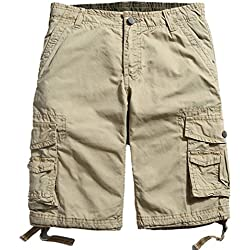 MorryOddy Men's Casual Cotton Multi-Pocket Cargo Shorts Khaki 32