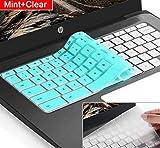 [2pack] Keyboard Cover Skin for hp chromebook 14,hp 14 inch Touch-Screen Chromebook,hp Chromebook 14-ak,14-ca Series,hp Chromebook 14 G2 G3 G4 Series,Ultra Thin Silicone Keyboard Cover(Mint+Clear)