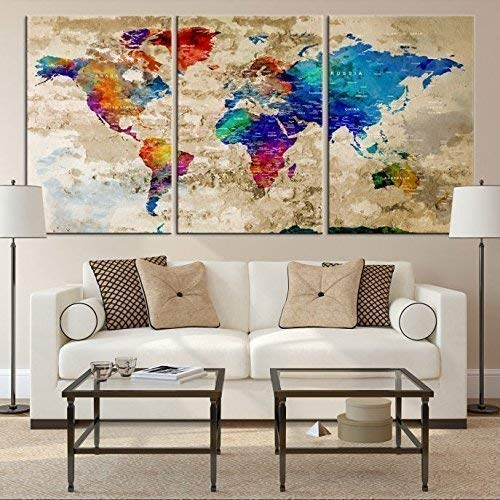 Amazoncom Watercolor World Map Wall Art By My Great Canvas 3