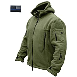 CRYSULLY Mans Army Multi-Pocket Full Zip Outerdoor Tactical Combat Jackets Warm Hoodie Parka Jacket Green