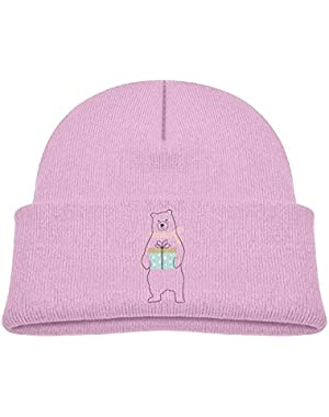 Girl Cute Polar Bear Unisex Baby Beanie Children Kids Toddler Cotton Soft Cute Lovely Knit Beanie Hat Cap Pink