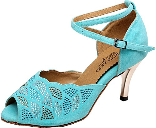 Abby Satin Mid Tango Modern Green Latin Dance shoes toe Peep Heel Party Cha Professional Womens Cha Salsa S7frSq