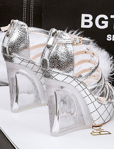 LFNLYX Zapatos de mujer-Tacón Cuña-Cuñas / Tacones / Punta Abierta-Sandalias-Casual-Semicuero-Plata / Oro Silver
