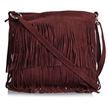 Big Handbag Shop Womens Suede Leather Cowgirl Tassle Fringe Shoulder Bag