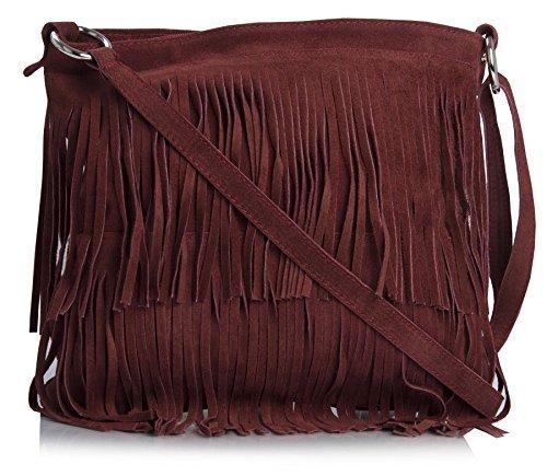 Big Handbag Shop Womens Suede Leather Tassle Fringe Shoulder Bag (Deep - Deep Red Leather Handbag