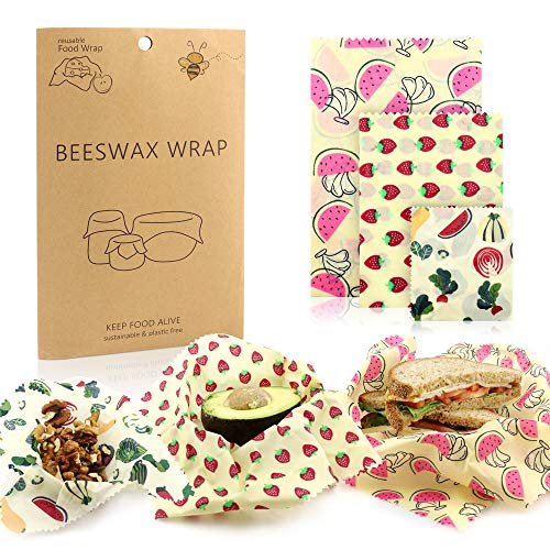 - Beeswax Wrap Set by Funhouse! 3 Wax Wraps WITH Extra Security! Multisized Bees Wrap Food Wrap - Bee Paper for Eco-Friendly Cling Film Plastic Wrap Alternative - Zero Waste, Reusable Beeswrap Cloth