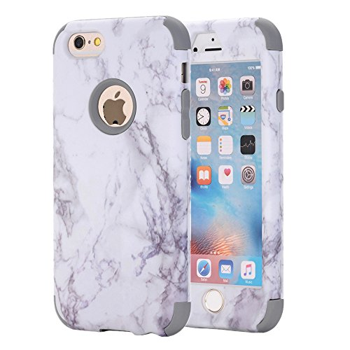 iPhone 6S Case, iPhone 6 Case, KAMII White Marble Stone Pattern Shockproof 2in1 Dual Layer TPU Bumper Hard PC Hybrid Defender Armor Case Cover for Apple iPhone 6/ 6S 4.7inch - Marble Blue Grey