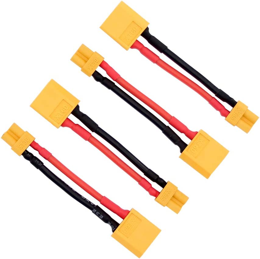 XT-30 Connector Adapter with 16awg 5cm Wire 4pcs Male XT60 to Female XT30 BDHI-90