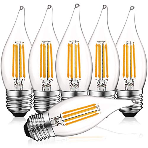 (Luxrite 4W Vintage E26 Candelabra LED Bulbs Dimmable, 430 Lumens, 2700K Warm White, Medium Base Candelabra Bulb 40W Equivalent, Flame Tip Clear Glass, Edison Filament Light Bulb, UL Listed (6 Pack))