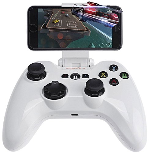 Apple MFi Bluetooth Controller, Megadream Wireless IOS Gaming Gamepad Joystick with Clamp Holder for iPhone X, 8 Plus, 8, 7 Plus, 7 6S 6 5S 5 4S, iPad Air, iPad Mini, iPad Pro, Apple TV, iPod - White by Megadream