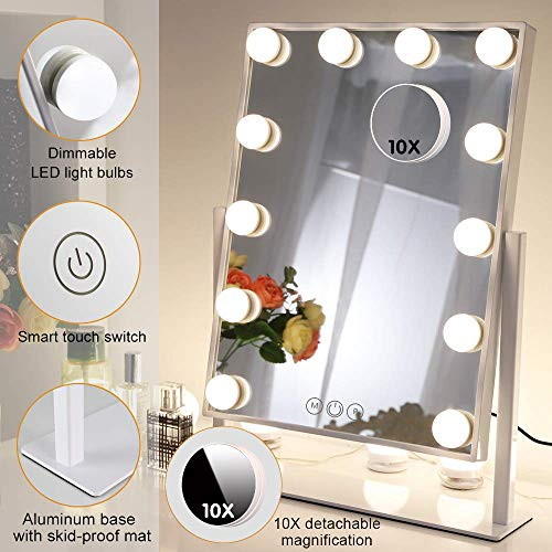 FENCHILIN Lighted Makeup Mirror Hollywood Mirror Vanity Makeup mirror with Light Smart Touch Control 3Colors Dimable Light Detachable 10X Magnification ()