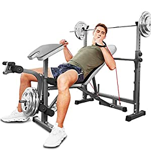 Hicient Olympic Weight Bench with Preacher Curl & Leg Developer for Weight Lifting and Strength Training, 6 Levels Adjustable Professional Weight Bench Set for Indoor Exercise