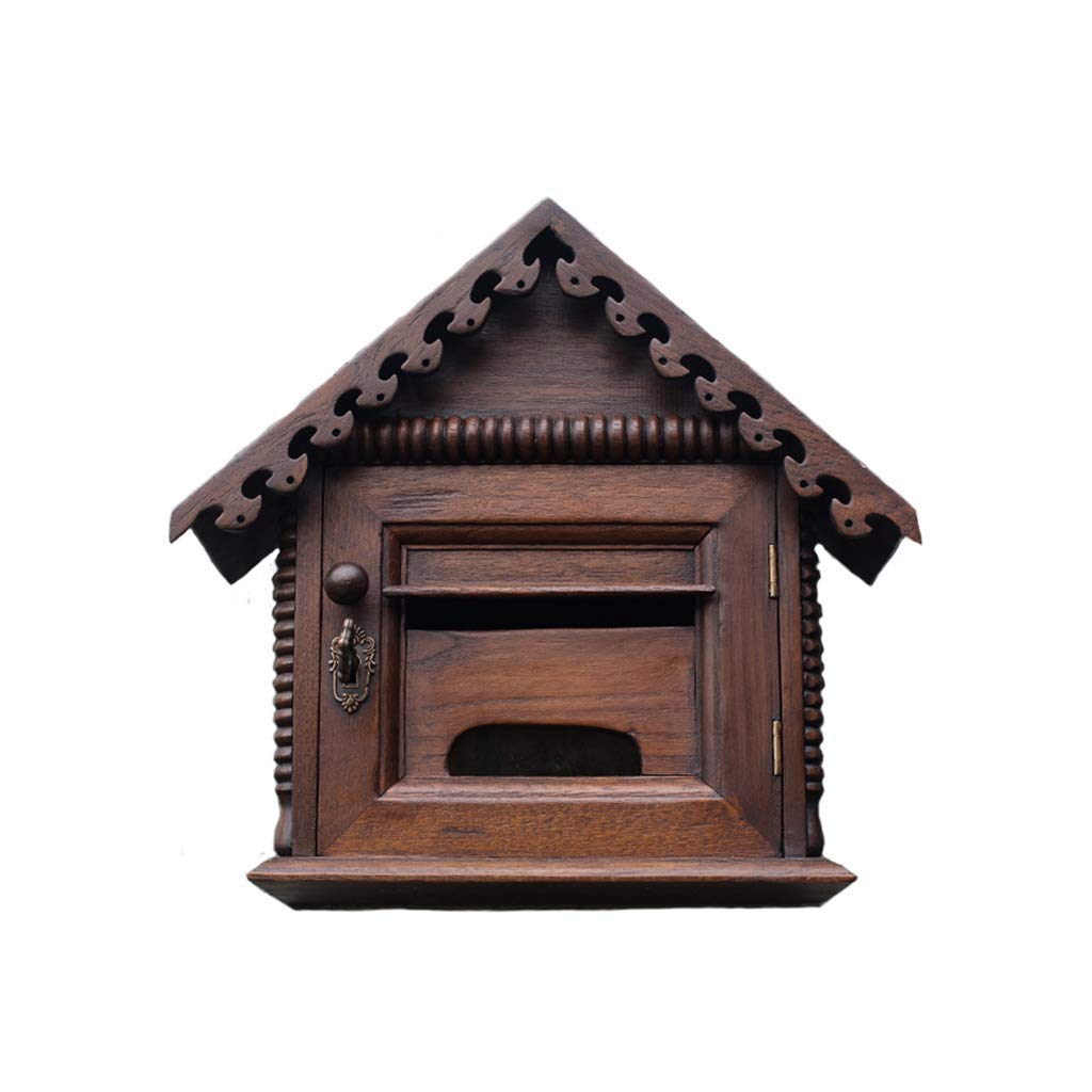 メールボックス、クリエイティブロック屋外防水防水メールボックスは壁掛けヴィラメールボックスレトロ木製メールボックス提案ボックスにすることができます   B07TV3VMFG