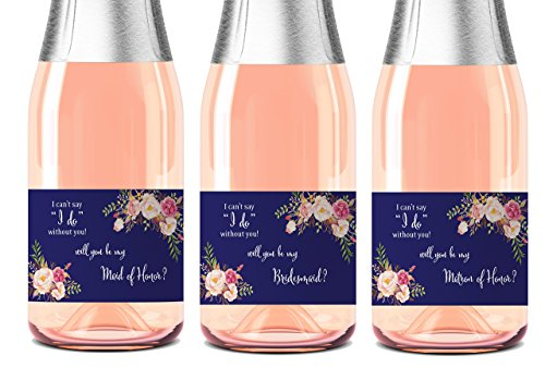 Bridesmaid Mini Champagne Labels ● SET of 8 ● Wedding Wine Labels, Bridesmaid Proposal, Ask Maid of Honor, Matron of Honor, Floral Bridal Party Ask, Bridal Party Gifts, Favors, WATERPROOF, M710-ASK-8 (Le Mini Wine)