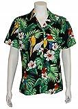 Women's Parrot Hibiscus Hawaiian Luau Cruise Camp Shirt (M, BLACK)