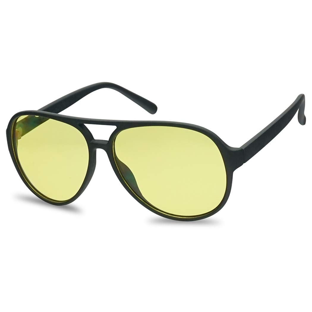 SunglassUP Large 80's Retro Aviator Yellow Lens Sunglasses in Soft Black Plastic Frame (Black Frame | Yellow) by SunglassUP