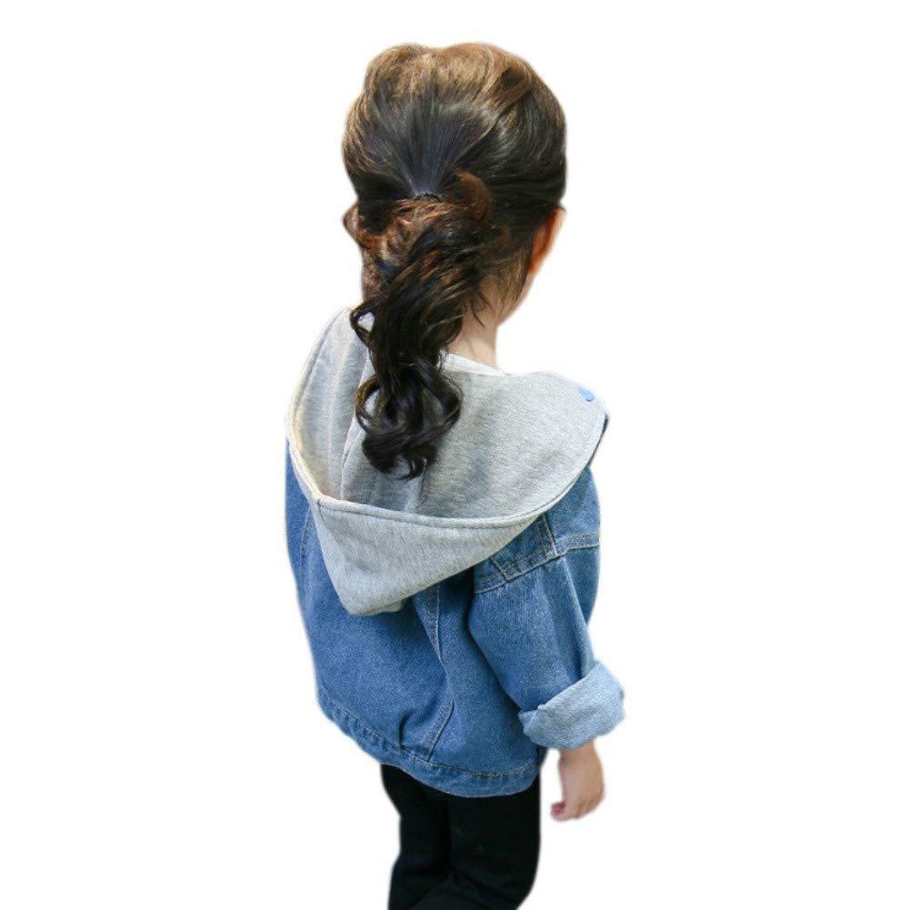 Soly Tech Kids Girls Long Sleeve Buttons Jeans Denim Hooded Jackets