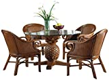 Hospitality Rattan 5 PC SET-401-D-CLP Cancun Palm Indoor 5 Piece Rattan & Wicker Dining Set with Cushions, Sunbrella Canvas Spa