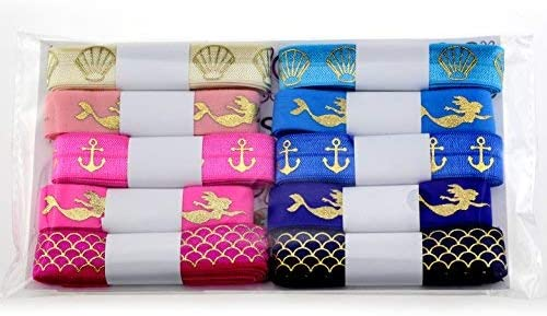 Midi Ribbon Value Pack 5//8 Stretch Solid Fold Over Elastic 10 Yards Grab Bag for Hair Tie Headband 10 Colors by 1 Yard