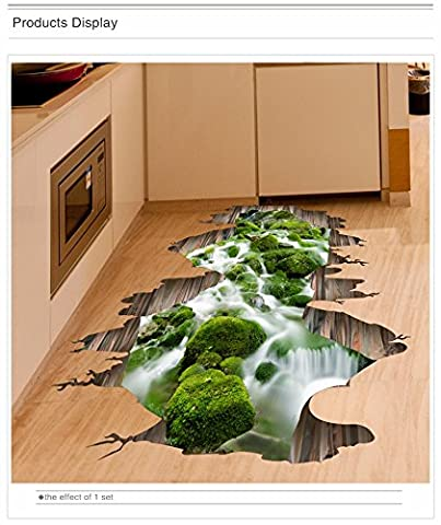 Copter Shop 3D decorative floor stickers PVC material self-adhesive wall stickers creative living room bedroom bathroom wallpaper (Butterfly Pond Kit)