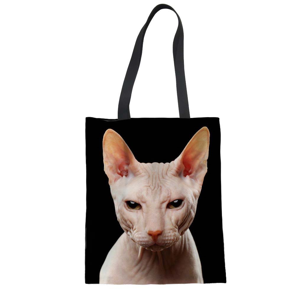 doginthehole Canadian Hairless Cat Tote Bags Canvas Shopper Shoulder Handbags