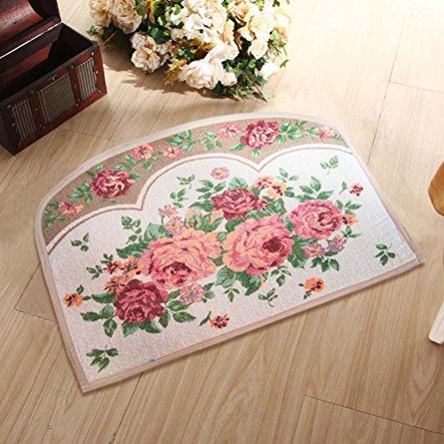YJBear Pink Rose Flower Print Semicircle Kitchen Floor Runner Floor Mat Entry Mat Doormat Home Decor Carpet Indoor Outdoor Area Rug 17.7